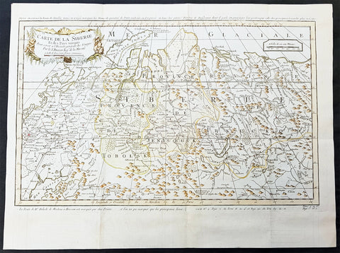 1754 Bellin & Delisle Original Antique Map of Siberia, Russia - after Delisle & Kirilov