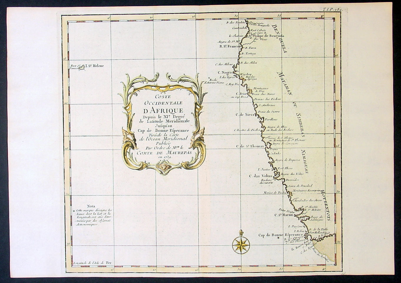 1739 Bellin Original Antique Map Of Sw Africa The Cape To Angola