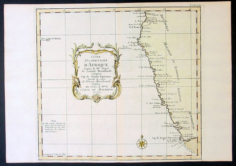 1739 Bellin Original Antique Map of SW Africa The Cape to Angola - Hottentots