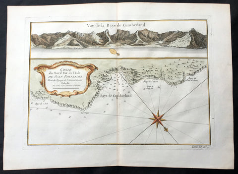 1755 Bellin Antique Map Cumberland Bay Juan Fernandez Is Chile Selkirk & Crusoe