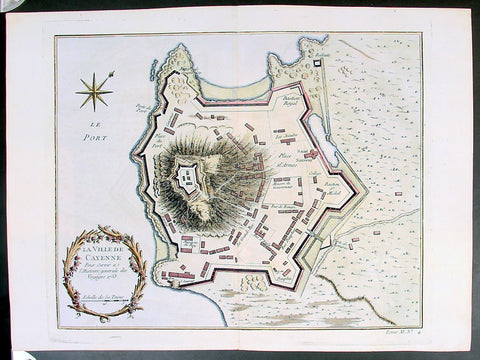 Copy of 1753 Bellin Antique Map Plan of the City of Cayenne French Guyana, South America