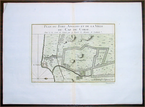 1747 Bellin Antique Map Plan Cape Coast Castle in Ghana West Africa - Slavery