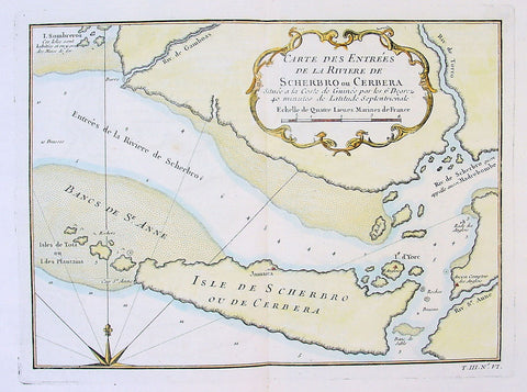 1750 Bellin Antique Map Mouth of the Sherboro River in Seirra Leone, Africa