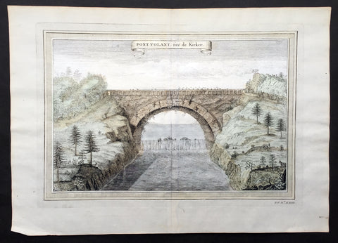 1750 Prevost, after Kircher, Antique Print Bridge over Yellow River, Xensi China
