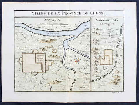 Copy of 1755 Prevost & Schley Antique Map of Xi an & Guanzhong in Shaanxi Province China