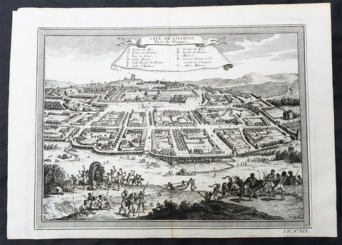 1755 Prevost & Schley Antique Print City View of Mbanza Loango West Congo Africa