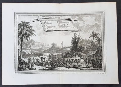 1750 Prevost Antique Print Procession of The Serpent Temple, Dahomey West Africa