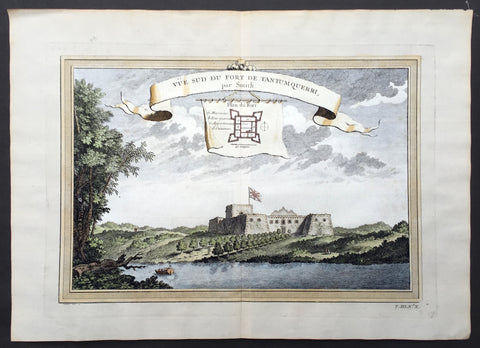 1750 Prevost & Schley Antique Print of Slave Fort Tantumquery, Otuam, Ghana, West Africa