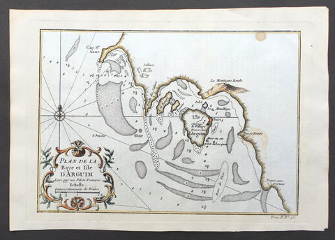 1747 Bellin Antique Map of The Island & Bay of Arguin, Mauritania, West Africa