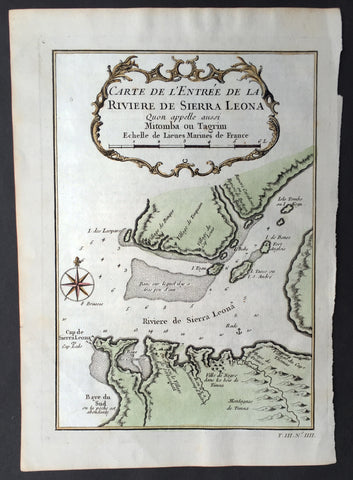 1760 Bellin Antique Map The Entrance to the Sierra Leone River, Africa
