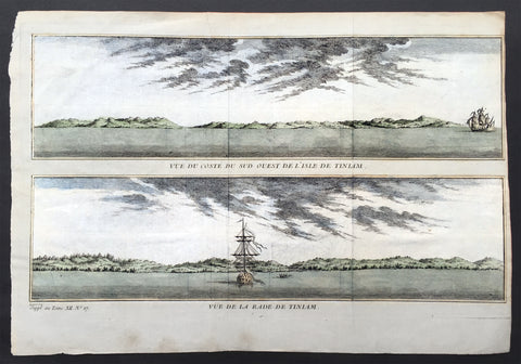 1760 Bellin Antique Print Views of Tinian Islands, Mariana Islands