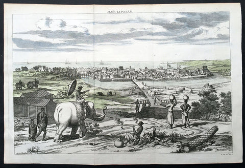 1732 Baldaeus Antique Print a View of Machilipatnam Andhra Pradesh, India