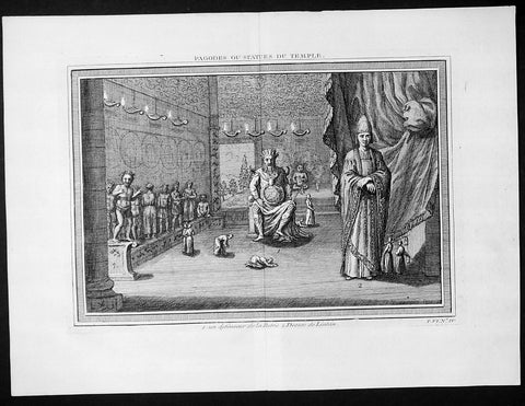 1747 Bellin Prevost Antique Print of a Chinese Temple