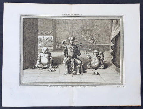 1750 Prevost Original Antique Print of 3 Statues or Deities in a Chinese Pagoda