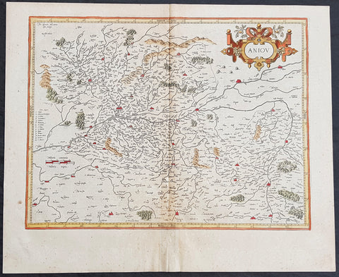 1628 Mercator & Hondius Large Antique map of Anjou, Maine-et-Loire Region France