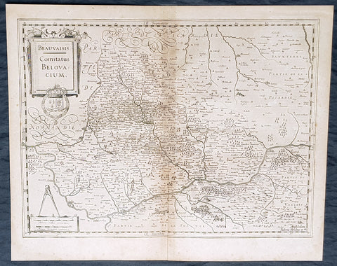 1628 Gerard Mercator & Henricus Hondius Antique Map of Beauvais Region, France