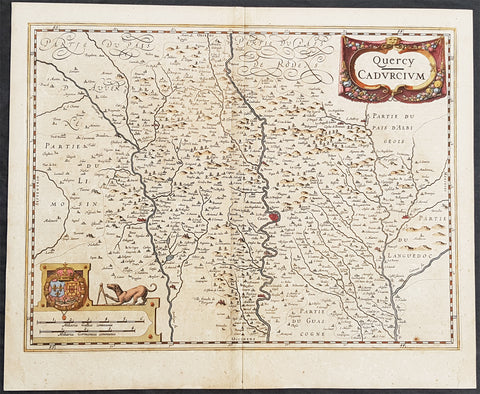 1628 Henricus Hondius Antique Map The Province of Quercy, Lot, Cahors, SW France