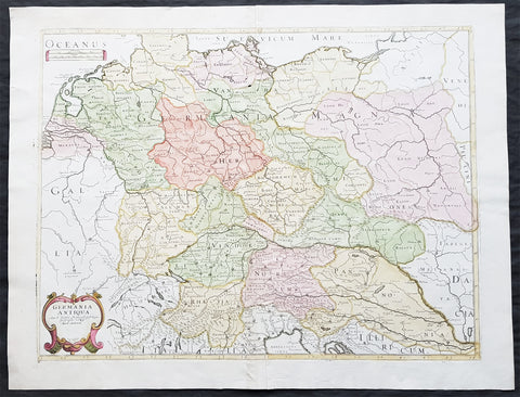 1689 Nicolas Sanson Large Antique Map of Germania & Central Europe