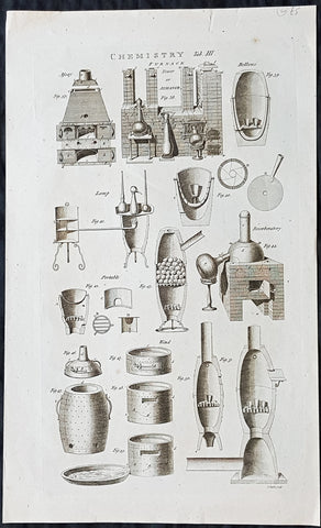1798 William Hall Antique Print of Chemistry Furnace or Ovens & Sectional Parts