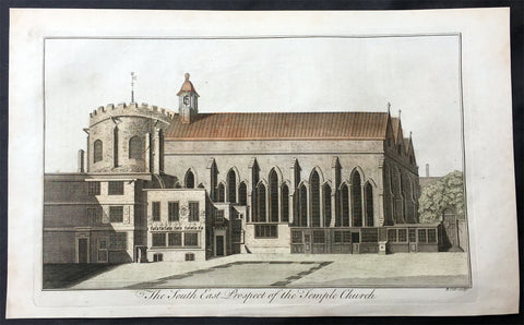 1756 Maitland Large Antique Print of Temple Church London, Knights Templars