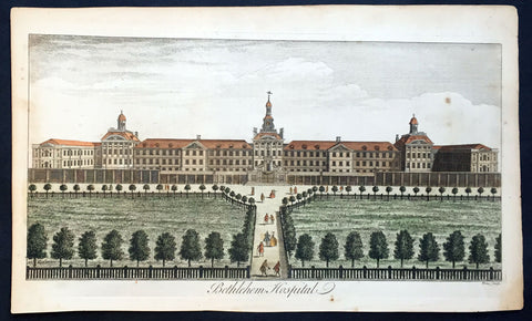 1756 Maitland Large Antique Print of Bethlehem or Bedlam Hospital, London
