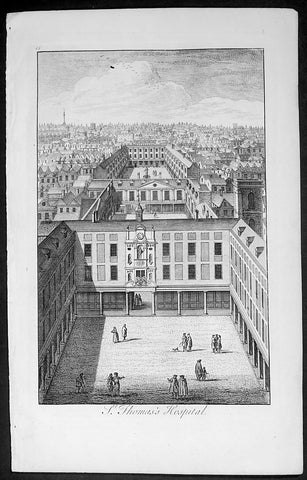 1720 Stow Large Antique Print St Thomas Hospital View Southwark, London, England
