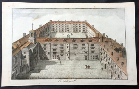 1756 Maitland Large Antique Print of Bridewell Palace, Prison London, England