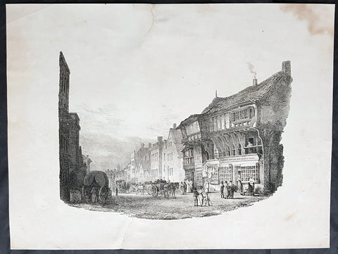 1821 Charles Hullmandel & Francis Nicholson Antique Print of Bridge St, Chester
