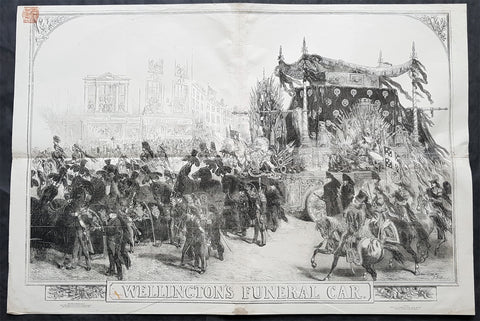 1852 ILN & J. Gilbert Large Antique Print of The Duke of Wellingtons Funeral Car