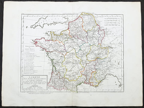 1797 Edme Mentelle & Pierre Tardieu Large Antique Map of France
