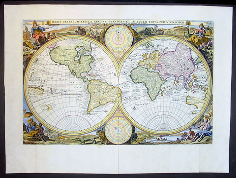 1677 Nicolas Visscher Antique Twin Hemisphere World Map