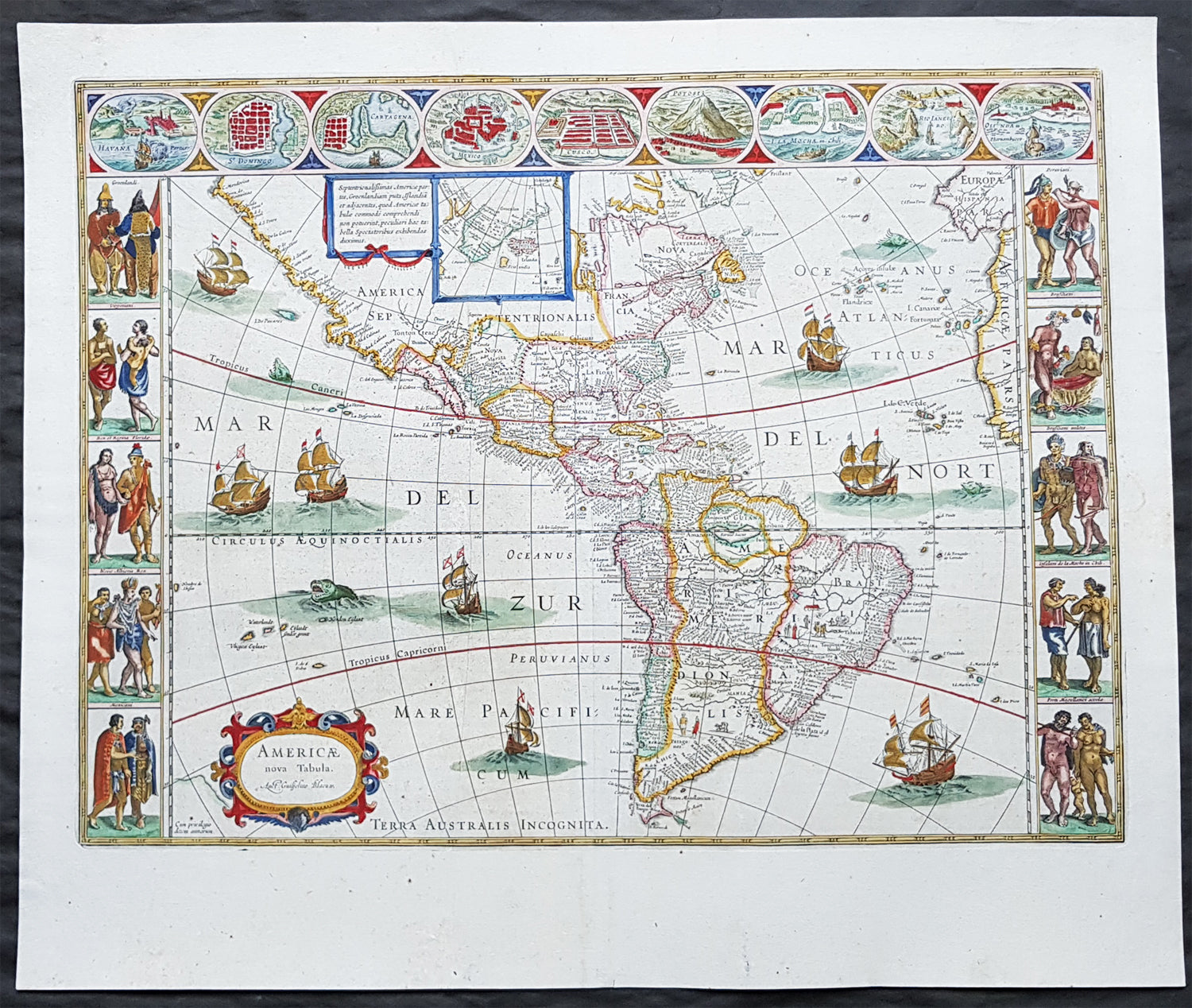 Blaeu World Map.1662 Joan Blaeu Antique Map Of The New World America Magnificent