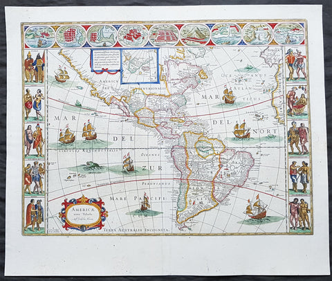 1662 Joan Blaeu Antique Map of the New World, America - Magnificent