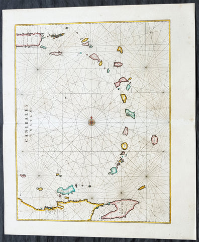 1662 Joan Blaeu Antique Map of Lesser Antilles Islands - Puerto Rico to Trinidad