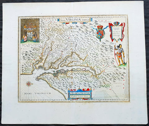 1662 Joan Blaeu Antique Map of Chesapeake Bay, Virginia - John Smith Map, Superb