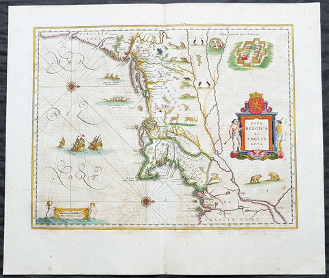 1662 Joan Blaeu Antique Map of NE America Virginia to New York & New England