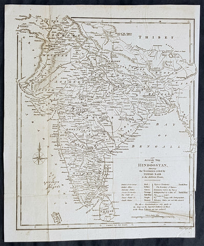 1798 Arron Arrowsmith Antique Map of India or Hindoostan