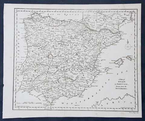 1790 Aaron Arrowsmith Original Antique Map of Spain, Portugal & Balearic Islands