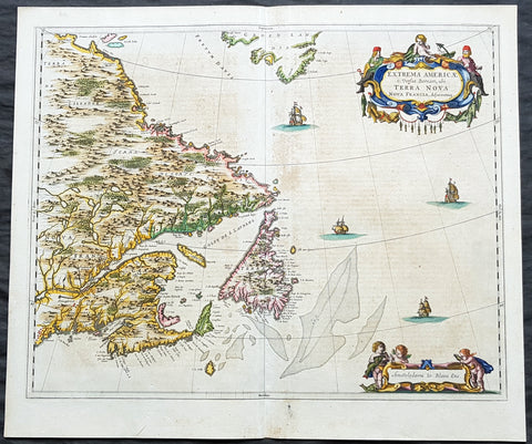1662 Joan Blaeu Antique Map Eastern Canada, Nova Scotia, NFL, Grand Banks - Rare