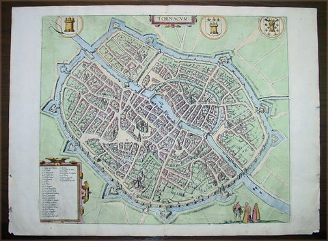 1575 Braun & Hogenberg Antique Map City Plan of Tournai or Doornik, Belgium