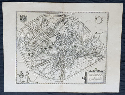 1574 Braun & Hogenberg Antique Map City View of Tienen, Flemish Brabant, Belgium