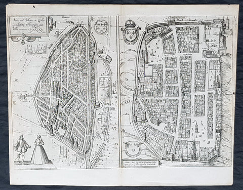 1574 Braun & Hogenberg Antique Birds Eye Views Chartres & Chateaudu Loire France