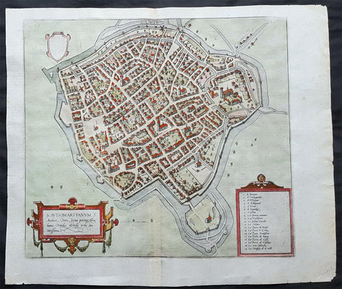 1575 Braun & Hogenberg Original Antique Birds Eye View of St Omer, Calais France