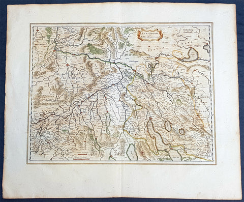 1659 Joan Blaeu Large Antique Map of The Swiss Cantons of Zurich, Aargau & Basel