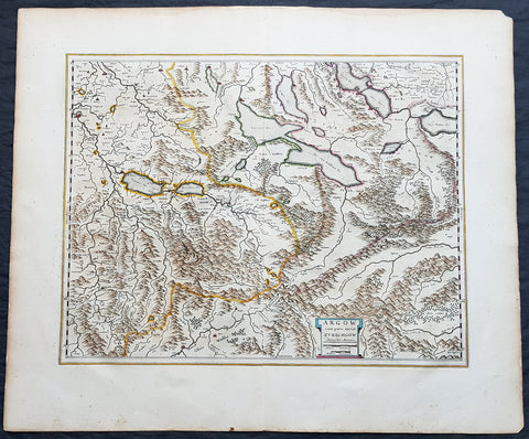 1659 Joan Blaeu Antique Map of The Cantons of Aargau & Zurich, Switzerland