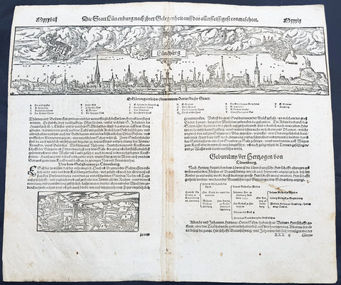 1598 Sebastian Munster Antique Map Birds Eye View of Luneburg Hamburg, Germany
