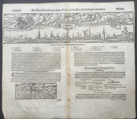 1598 Munster Antique Print View of the City of Lüneburg Saxony, Germany