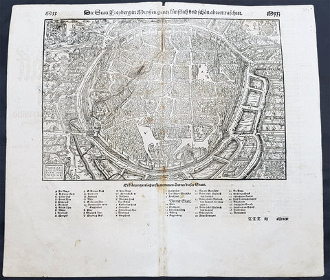 1598 Sebastian Munster Antique Map View of Freiberg, Saxony Southern Germany