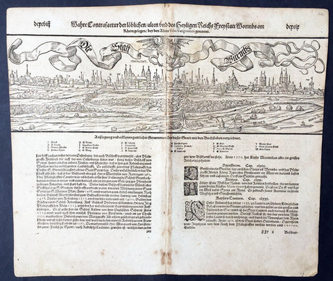 1598 Munster Large Antique Print View of Worms Rhineland-Palatinate, Germany