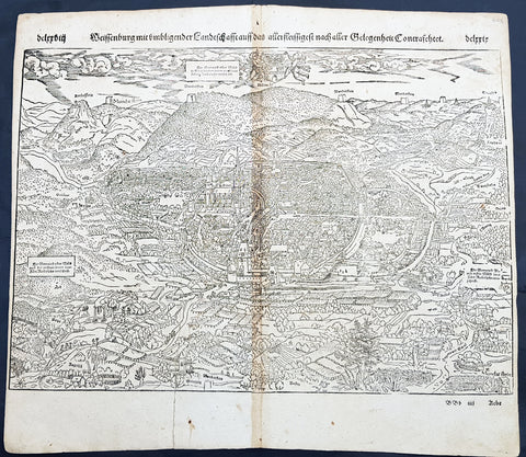 1598 Sebastian Munster Antique Map Birds Eye View of Weissenburg Bavaria Germany